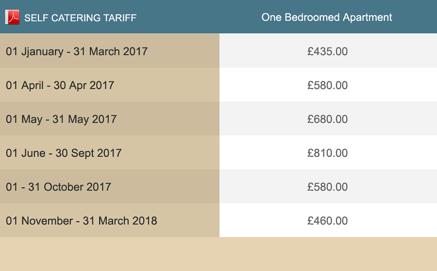 Download apartments tariff as PDF.